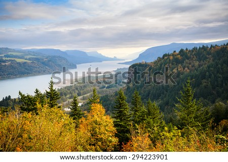 Elevated View of the Columbia Gorge - stock photo