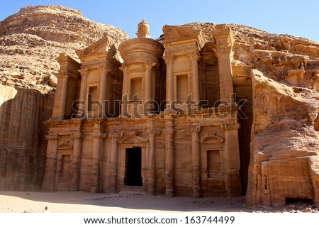 Elevated View of The Monastery or El Deir at the Ancient City of Petra, Jordan,   - stock photo