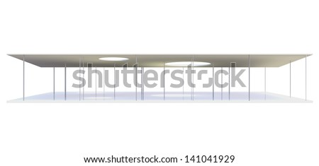 Elevation of Conceptual modern building on white background - stock photo