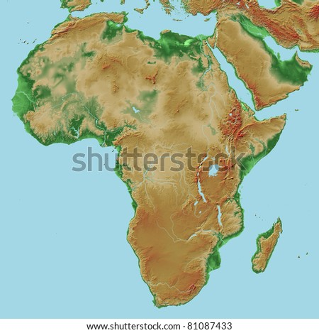 Elevations of Africa - map relief - stock photo