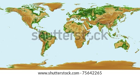 Elevations of earth - worldwide map relief - stock photo