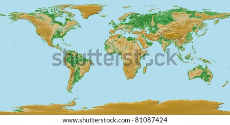 Elevations of earth - worldwide map relief with national borders - stock photo