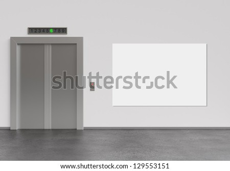 elevator and blank poster, 3d render - stock photo
