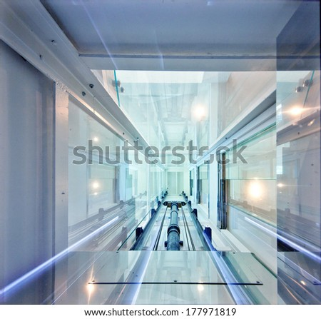 Elevator box view from above - stock photo