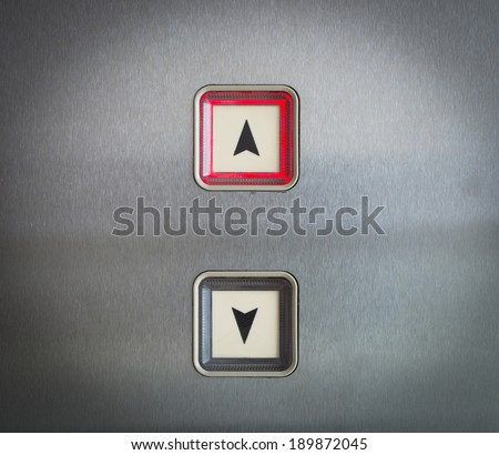 Elevator Button up and down direction with up red light, vintage style - stock photo