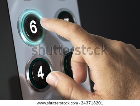 Elevator buttons with finger pressing the number six, concept of choice - stock photo