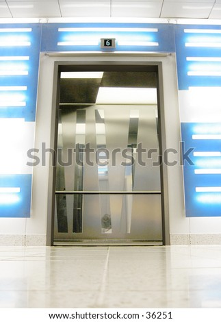 Elevator Door Open (2 of 2 Photo) - stock photo
