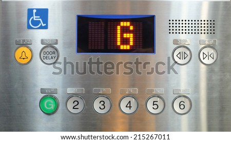 Elevator internal buttons control panel, Braille numbers and lift symbols - stock photo