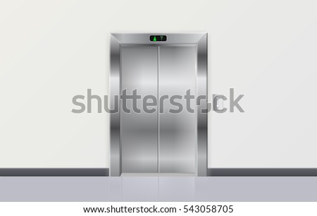 Elevator. Metal closed doors. 3d illustration. Raster version.