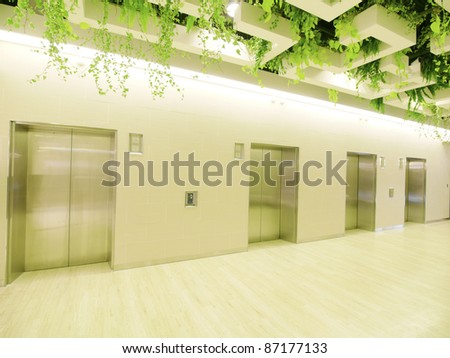 Elevator waiting room - stock photo