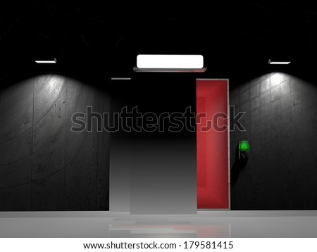 Elevator with big white display, 3d render - stock photo