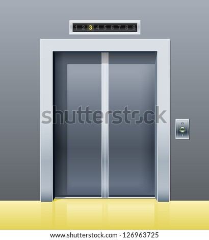 elevator with closed door. Rasterized illustration. Vector version also available in my gallery. - stock photo