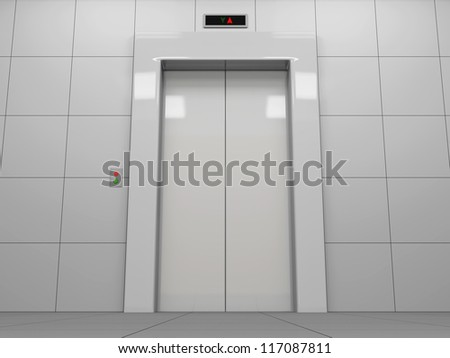 Elevator with Closed Doors - stock photo