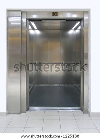 Elevator with open doors - stock photo