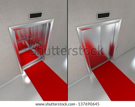 Elevator with red carpet. Two images - one with opened doors and one with closed elevator doors. - stock photo