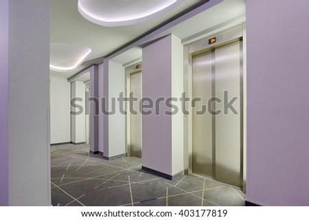 Elevators in a modern building