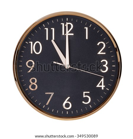 Eleven hours on a round clock face - stock photo