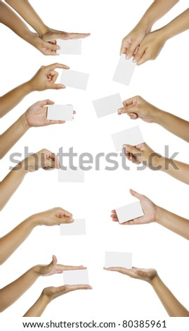 Eleven images of hand giving blank name card isolated over white background. You can put your text on the hand - stock photo