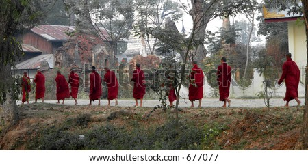 Eleven Monks Walking (Inle Lake area) Myanmar (Burma)