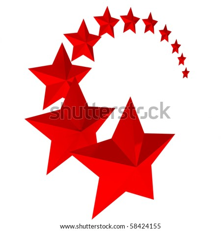 Eleven red stars on white background - stock photo