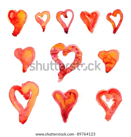 Eleven watercolor painted hearts - stock photo