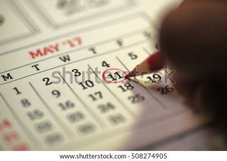 Eleventh day of month/ Month Calendar/ Planning mark on the date/  Bill payment