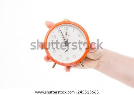 eleventh-hour decision with retro alarm clock - stock photo
