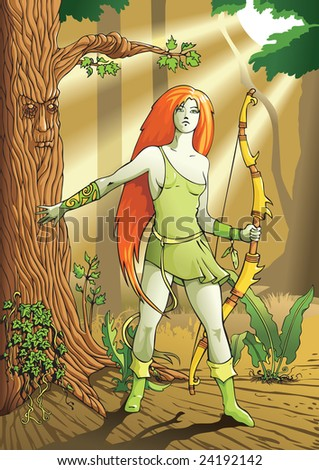 Elf female archer, a character from mythology and folklore legend, illustration