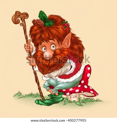 Elf forest. sitting fly agaric cartoon illustration character  - stock photo