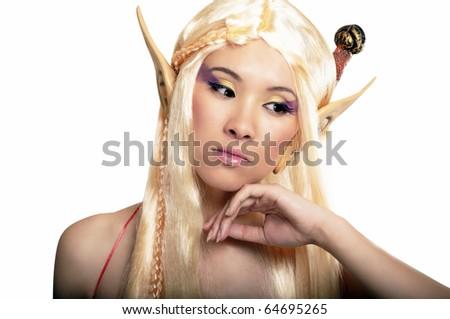 Elf girl. Isolated on white. - stock photo