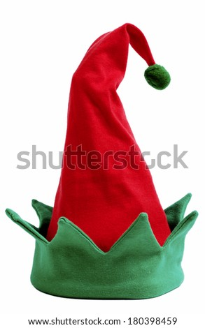 elf hat on white background - stock photo