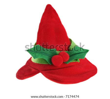 Elf holiday hat for human or animal isolated on white background - stock photo