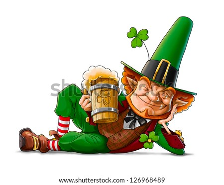 elf leprechaun with beer for saint patrick's day - stock photo