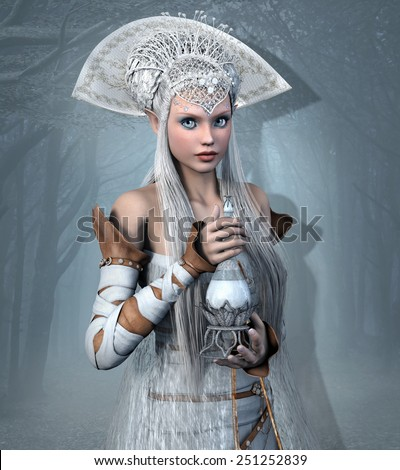 Elf queen with elixir potion - stock photo