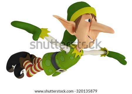 elf santa helper jump - stock photo