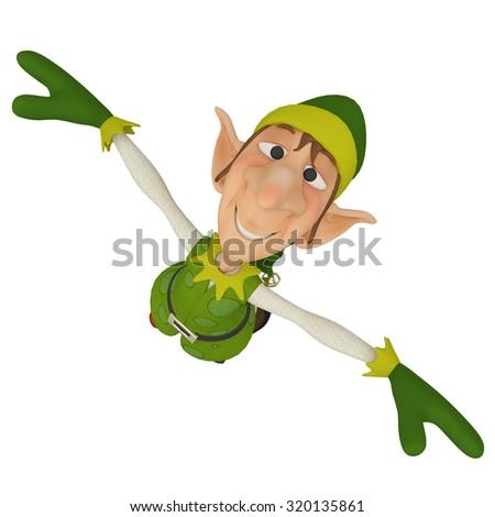 elf santa helper jump up - stock photo