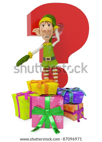 elf the santa helper cartoon in where is your present - stock photo