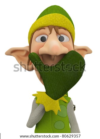 elf the santa helper close up - stock photo