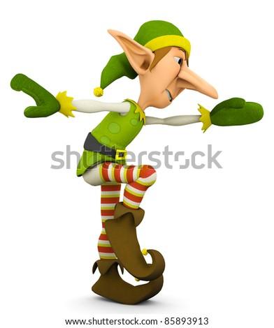 elf the santa helper dance - stock photo