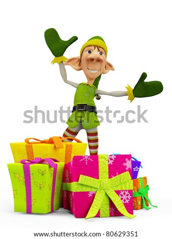 elf the santa helper got all the presents - stock photo