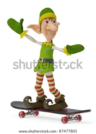 elf the santa helper in his skate - stock photo