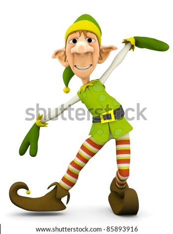 elf the santa helper in tada show up - stock photo