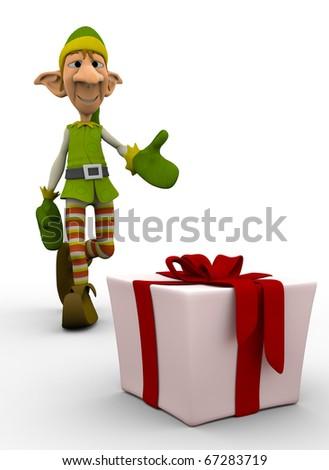 elf the santa helper ready to get the present - stock photo