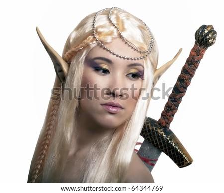 Elf warrior. Isolated on white. - stock photo