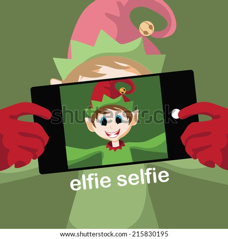 Elfie selfie christmas card - stock photo