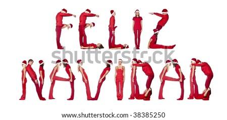 Elfs forming the phrase 'Cestitamo Bozic' isolated on white - stock photo