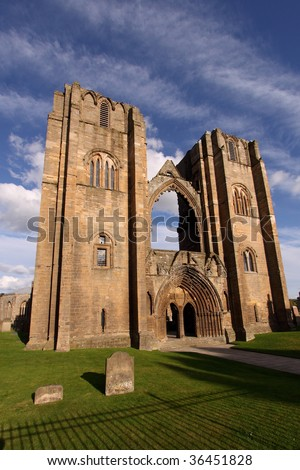 Elgin Cathedral in the north east of Scotland is a majestic ruin dating back to the 13th century with a dramatic history and still celebrated locally with the evocative name, the Lantern of the North. - stock photo