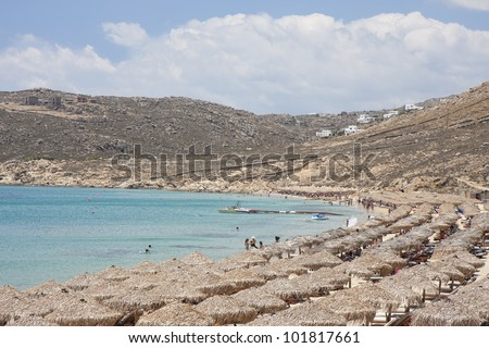 Elia Beach, Mykonos island, Greece - stock photo