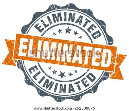 eliminated orange vintage seal isolated on white - stock photo