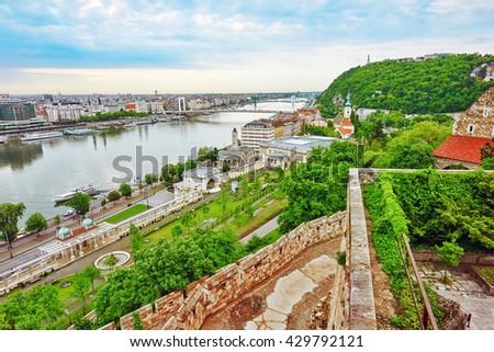 Elisabeth Bridge in  Budapest,bridge connecting Buda and Pest across the River Danube. - stock photo